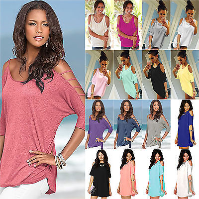 Womens Summer Cut Out Cold Shoulder Tops T-shirt Holiday Beach Blouse Plus Size