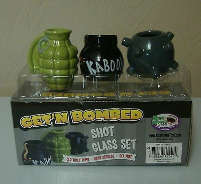 Getting Get'N Bombed 3-Pack Bomb Shot Glasses Assorted Set FREE SHIPPING