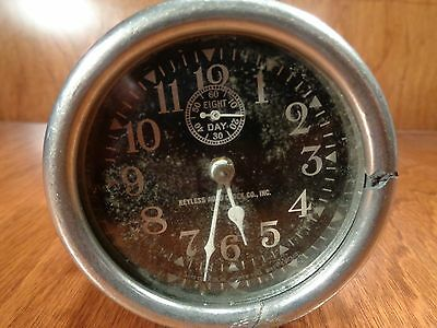 Vintage Early Eight Day Keyless Auto Clock , U.S.A By Auto clock Co., RARE