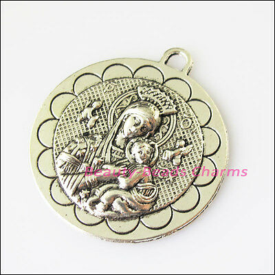 1 New Mary Round Flower Tibetan Silver Tone Charms Pendants 36.5x41.5mm
