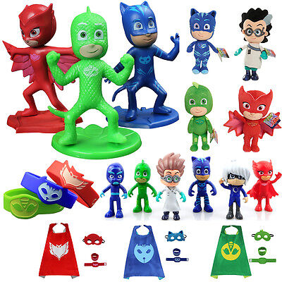 PJ Masks Plush Doll Cosplay Costume Catboy Owlette Gekko Cape Cloak Vehicles Lot