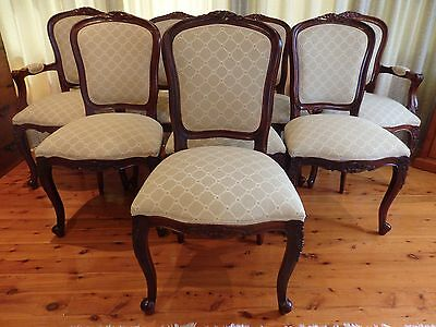 Set of 8 antique reproduction dining room chairs - including two carvers