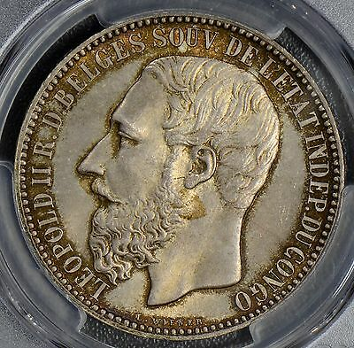"Congo free state 1887 5 Francs PCGS MS65 ""R.D. Belges"" Pristine condition"