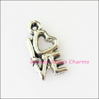 25 New Heart Tiny Love Words Tibetan Silver Tone Charms Pendants 8x14mm