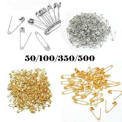 SMALL SAFETY PINS x 50/100/350/500 Gold Silver 19/31mm Craft Dressmaking Sewing