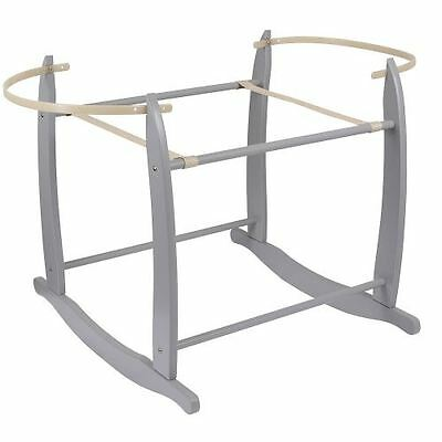 Clair de Lune Deluxe Rocking Baby Moses Basket Stand - Grey