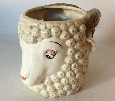 Vtg Qq Figural Lamb Sheep Ram Face Mug Very Cute!