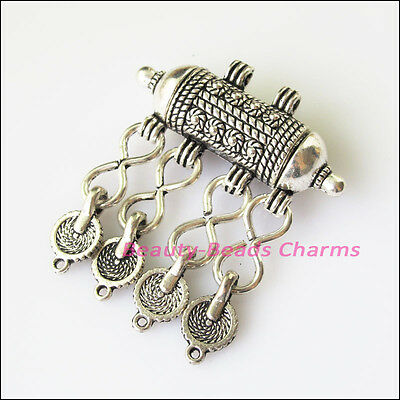 1 New Barrel Flower Tassels Tibetan Silver Tone Charms Pendants 43x50mm