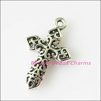 6 New Heart Flower Clouds Cross Tibetan Silver Tone Charms Pendants 14.5x23mm