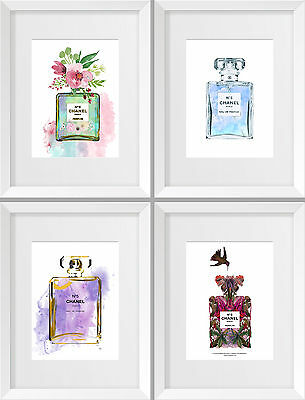 Set of 4 Chanel No 5 Elegant Water Colour A5 A4 A3 Prints Poster Coco Perfume