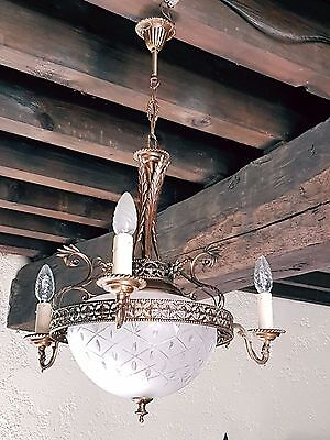 Antique Vintage French Basket Style Brass & Glass Chandelier Ceiling Light