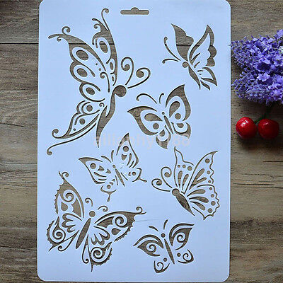 Plastic Butterfly Stencil Airbrush Painting Scrapbooking Album Craft Template AU