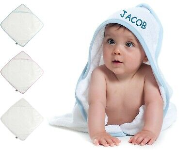 Personalised Embroidered Baby Hooded Towel New Born Baby Shower Christening Gift
