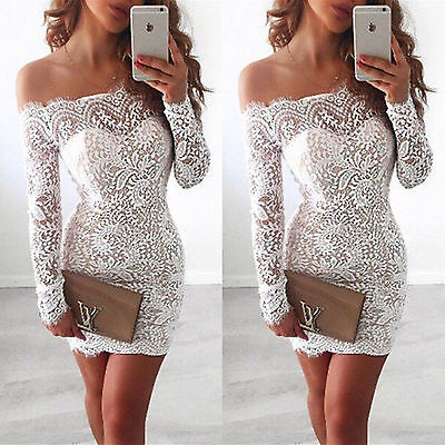 UK Women Long Sleeve Strapless Lace Bodycon Party Ladies Casual Short Mini Dress