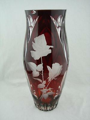 Large Ruby Red Cut To Clear Bohemian Crystal Vase, Detailed Etched Rose Design