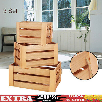 3Set Wood Vintage Storage Boxes Nested Shabby Rustic Chic Crates Home Decor Gift