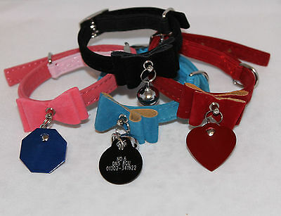 Cat Collar kitten velvet bow tie safety elastic Bowtie Bell with ENGRAVED ID TAG