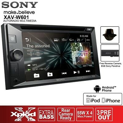 "New Sony Xav-W601 6.2"" Car Stereo Audio Player Free Reverse Camera Pendrive 8Gb"