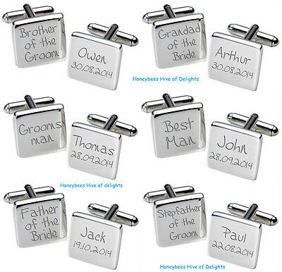 PERSONALISED Square SILVER Wedding Cufflink Sets For Men Party THANK YOU Gifts