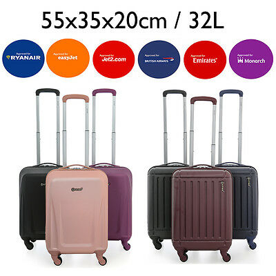 Hard Shell 55x35x20 Hand Luggage Suitcase Cabin Travel Bag Spinner 4 Wheels ABS