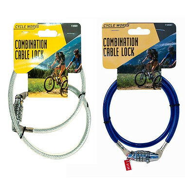 New Bicycle Combination Lock 70cm x 8mm Cycle for Any Bike Spiral Cable Chain UK