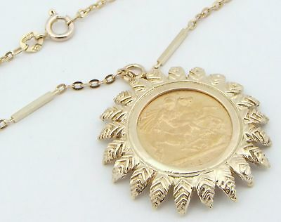 9ct Yellow Gold Chain With 22ct Victoria 1897 Half Sovereign Pendant Necklace