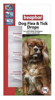 BEAPHAR FLEA AND TICK DROPS SPOT ON 12 WEEK PROTECTION TREATMENT SMALL DOG pup