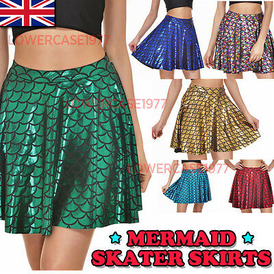 Mermaid dotted scale mini skater skirt - 10-14 UK shiny, dragon, scales, fish