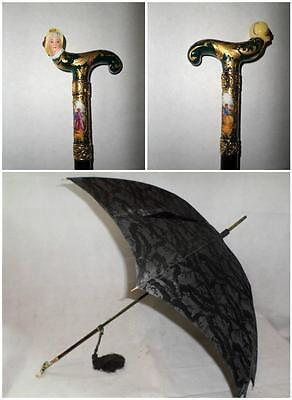 *Vintage Ladies Black Parasol- French Porcelain Top- Hand Painted & Gold Plate*