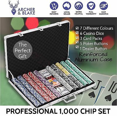 1000 Chip Professional Quality High Quality Poker Game Set in Aluminium Case