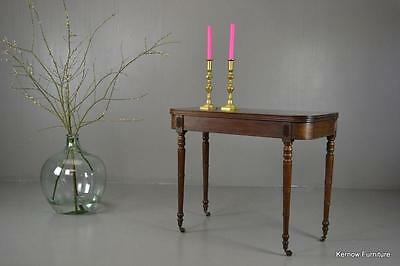 Antique Victorian Mahogany Fold Over Games Tea Occasional Table