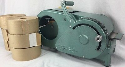 Vintage Gum Tape Machine Tape Shooter Metal Ideal w/ 6 rolls gummed tape