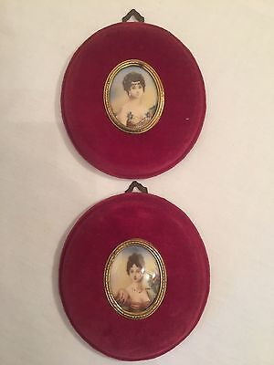 Pair Of Oval Miniature Portraits, In Velvet Frames, Signed Diyarin