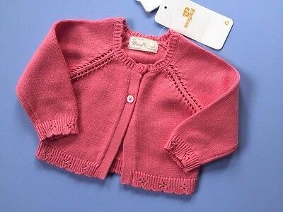 Designer MAYORAL Baby Girls 100% Cotton Knit Cardigan Coral Pink WAS £20 NOW £10