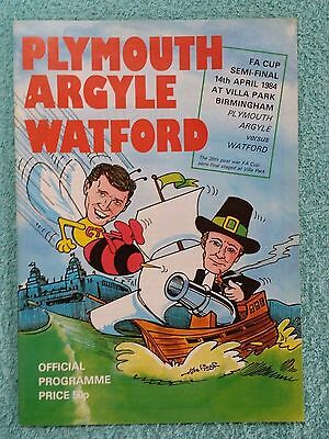 1984 - FA CUP SEMI FINAL PROGRAMME - PLYMOUTH v WATFORD - V.G CONDITION