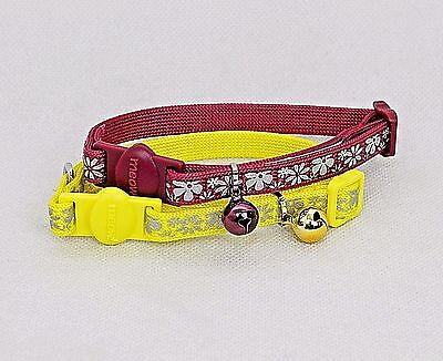 Reflective Flower Cat kitten collar,cat Safety collar with bell and ID heart