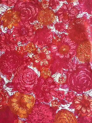 Vintage 1960's Large Pink Floral Heavy Vinyl Rectangle Tablecloth Felt Back