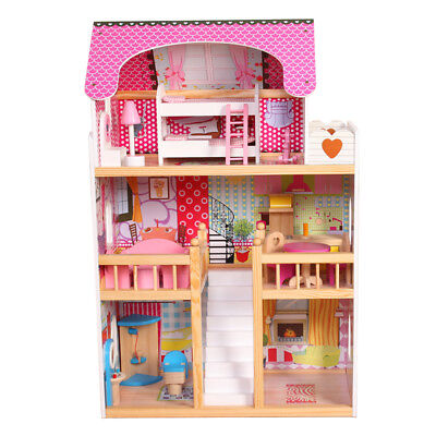 Kids Wooden Dolls House with 17 Furniture and Accessories 3 Story Cottage