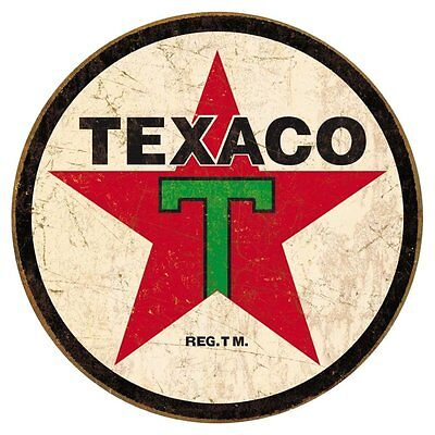 Texaco 1936 Logo Reproduction Round Distressed Retro Vintage Tin Sign
