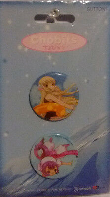 "CHOBITS PINS: Two 1 1/4"" button pins. CHI and SUMOMO"