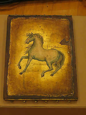 Very Old Antique Western Horse Painting on Wood