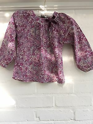 Lily Rose Trotters Liberty Print Purple Floral Tunic Blouse Size 4 - 5 years old
