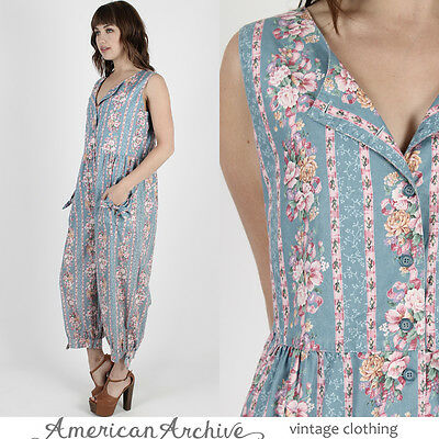 1e34168d931 Vintage 80s Blue Floral Jumpsuit Boho Grunge Bubble Harem Pants Hippie  Playsuit