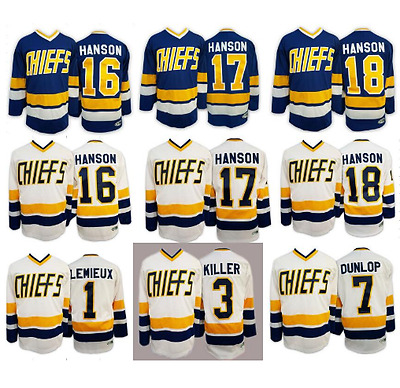 Charlestown Chiefs Hanson Brothers Slap Shot Hockey Jersey Dunlop Lemieux Killer