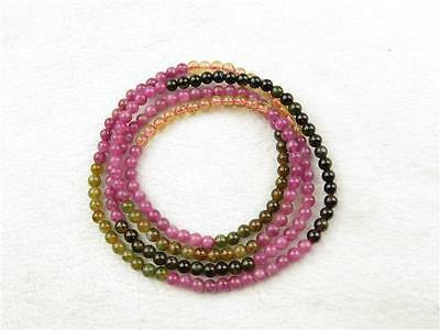 Natural Crystal Tourmaline Bead Gem Stone Stretch Cord Bracelet Health Healing