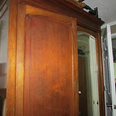 Antique Wooden Cabinet/ Storage with large beveled mirror.