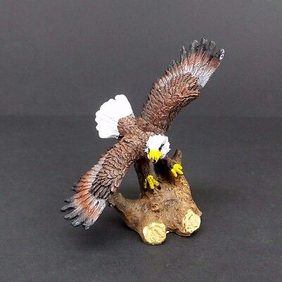 "Small Bald Eagle on Tree Stump Figurine 4"" Tall Collectible Bird Statue A"