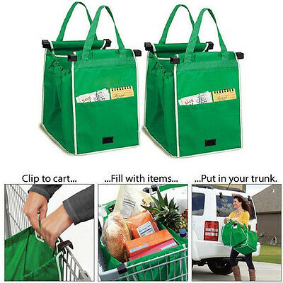 food shopping cart bags Clip To Cart Reusable Grocery Shopping Bags 4 Pack