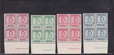 IRAQ 1951 King Faisal later print 4v  Bottom Margin Blocks of Four MNH - Read.