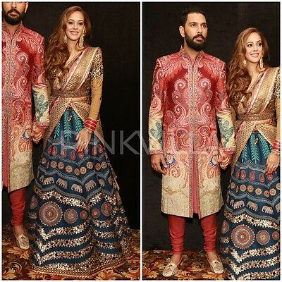 Indian Bollywood, Designer,Bridal Hazel Keech YuvRaj Singh Lehenga, Chanya Choli